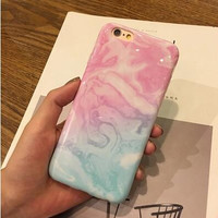 Painted Girl Blue Pink Marble Phone Case for IPhone7 7plus 6s 6 6Plus 5 5s Soft Tpu Silicone Case Back Cover -0315