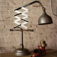 Industrial Raw Metal Vertical Scissor Table Lamp