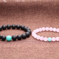 AmorWing Gemstone Beaded Matte Onyx and Rose Quartz His and Hers Relationship Bracelet (2pcs)