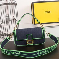 FENDI WOMEN'S LEATHER BAGUETTE HANDBAG SHOULDER BAG