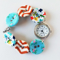handmade womans watch fabric covered button bracelet