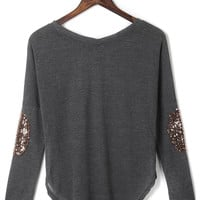 Grey Sequined Elbow Patch Asymmetric T-shirt