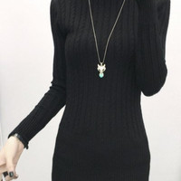 Cable-Knit Long Sleeves Turtleneck Sweater