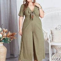 Plus Wide Leg Knot Jumpsuit