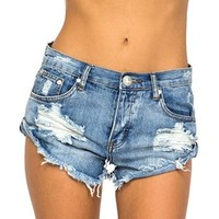 Women's Bandits Ripped Short Distressed Cut Off Levi's Frayed Low Rise