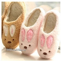 New Winter Cotton Plush Slippers For Men And Women Home Slippers Cute Soft-Sole Shoes Lovers Bunny Slippers Pink Brown