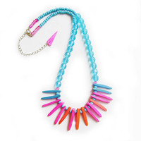 Neon Spikes Necklace - Tropical Punch  - Tribal Inspired Handmade Necklace in pink, coral and blue