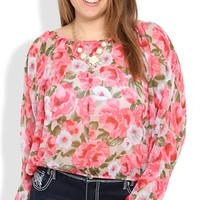 Plus Size Long Sleeve Floral Print Chiffon Bubble Top with Slit Back