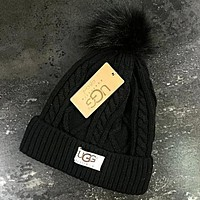 UGG Winter Classic Fashionable Couple Warm Knit Velvet Hat Cap Black