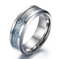 High-quality Luminous Dragon Rings for Men Black Gold Silver Mens Ring Stainless Steel Glow In The Dark Male Ring Jewelry