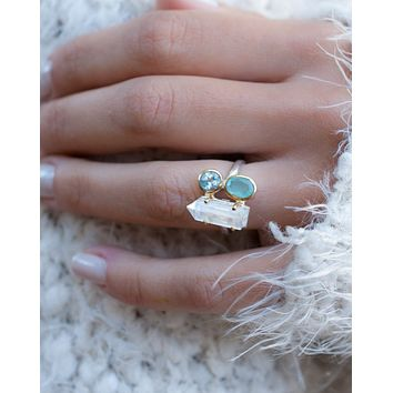 Crystal Ring * Crystal, Blue Topaz & Aqua Chalcedony * Sterling Silver 925 and Gold Vermeil * BJR054