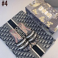 Dior CD new women's shoes woven embroidered flat slippers leather letter printing outer wear thick heel slippers