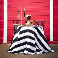 stripe tablecloth, Black and White stipe tablecloth, modern wedding decor, modern table linen, black and white overlay, striped tablecloth