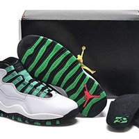 Hot Nike Air Jordan 10 Retro Women Shoes White Black Green