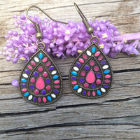 Bronze Teardrop Patterned Earrings With Purple, Pink, Blue, and White