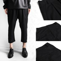 HOT Men's Fashion All-match Casual Black Ankle Length Harem Pants 2017 Spring British Style Cool Cropped Trousers