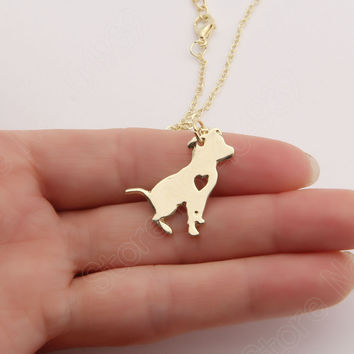 1pcs Pit Bull Necklace Pitbull Dog Pendant Pet Puppy Necklaces & Pendants Delicate Women Necklace Animal Charms Christmas Gifts