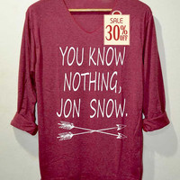You Know Nothing Jon Snow Shirts Red Long Sleeve Unisex Adults Size S M L