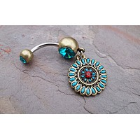 Boho Golden Belly Button Ring
