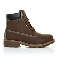 SASHA Chestnut Brown PU Leather Lace Up Walking Hiking Style Ankle Boots