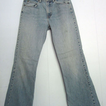 Vintage 90s Flare Leg GAP Blue Jeans Denim Worn Faded Distressed USA Cotton 29""
