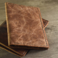 Genuine Leather Field Notes and Passport Cover, Rustic Leather, Handmade