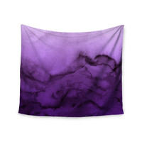 """Ebi Emporium """"Winter Waves 9"""" Purple Abstract Wall Tapestry"""