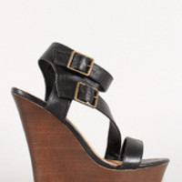 Women's Bamboo Faux Wood Double Buckle Strappy Wedge