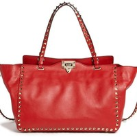 Valentino Medium Rockstud Double Handle Leather Tote in Red