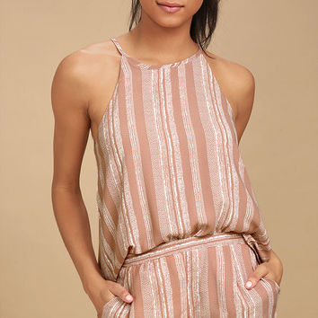 See You Smile Blush Pink Striped Romper