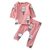 born Baby Girls Clothes Ice cream Long Sleeve T-shirt+Pants Suits Children Clothing