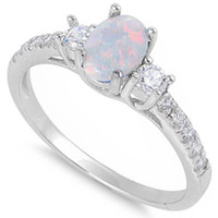 White Opal CZ FASHION ENGAGEMENT .925 Sterling Silver Ring Sizes 4-10