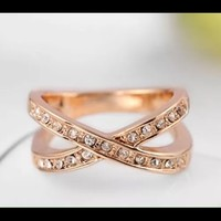 NWOT 9k Rose gold plated X ring
