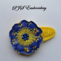 Felt and Fabric Flower In Purple and Yellow Snap Clip Barrette