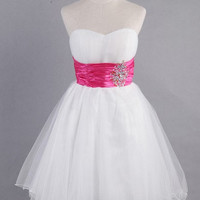 A-line Sweetheart Sleeveless Short/Mini Satin Organza Bridesmaid Dress With Sashes Rhinestone Paillette  Free Shipping