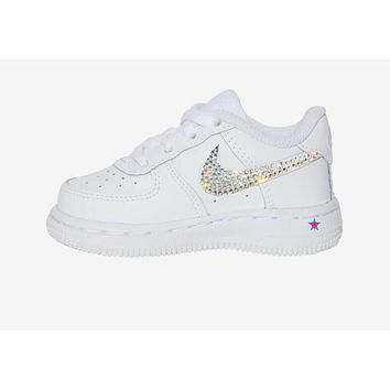 Kids Custom Crystal Nike Air Force 1s Low