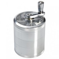 Aluminum Window Crank Herb Grinder - Silver - 65mm - 5-part - Herb Grinders - Smoking Accessories - Grasscity.com