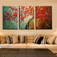 Abstract Modern Art Decor Flower Oil Painting Hand Painted Textured Palette Knife Canvas Wall PictureS 3 Pcs Set For Living Room