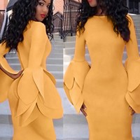 Occassional Yellow Dress with Pop Sleeves