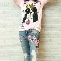 """Dolce & Gabbana"" Women Casual Cute Cartoon Crown Dog Head Print Short Sleeve T-shirt Top Tee"