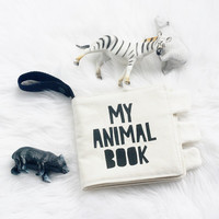 My Animal Cloth Fabric Quiet Book Handprinted Crinkle Buggy Pram Baby Toy