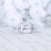 Princess Cut Engagement Ring - Art Deco Ring - Promise Ring - Wedding Ring - 2 Carat - Sterling Silver