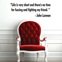 Life Is Very Short John Lennon The Beatles Quote Design Sports Decal Sticker Wall Vinyl