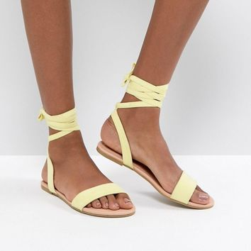 ASOS FIOLA Tie Leg Flat Sandals at asos.com