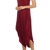 Spaghetti Strap Solid Stretch Long Harem Pants Jumpsuit Romper