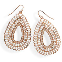 Rose Tone Fashion Earrings with Crystal and Enamel