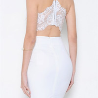 New Charm and Lace Dress - White