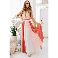 """May I Have Your Attention"" Plunging Striped Maxi (Coral/Pink)"