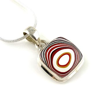 Fordite Sterling SIlver Pendant