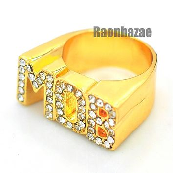 HIP HOP SOLID CHUNKY TUPAC MOB M.O.B. SWAGGER GOLD PLATED RING N002G